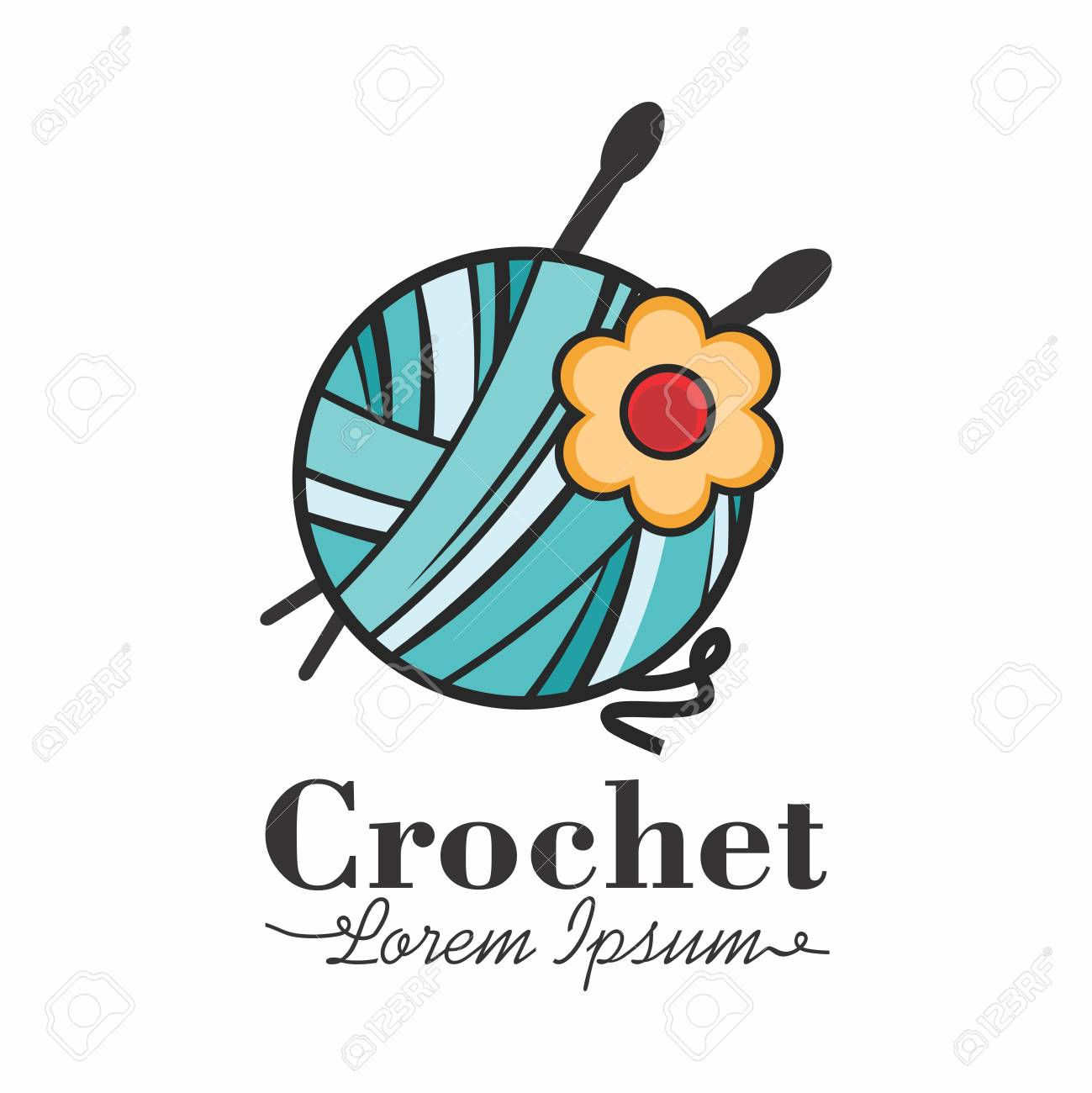 Vector Colorful And Happy Mascot Logo For Crocheting Tatting
