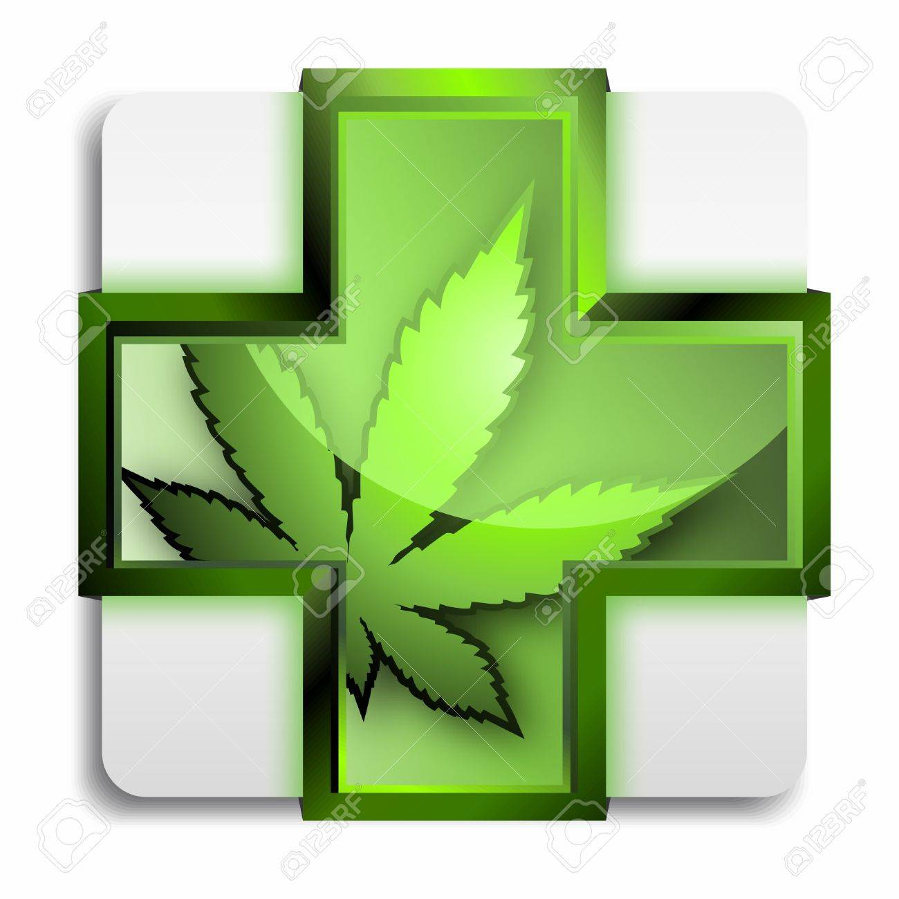 Vector 3d Symbol Of Medical Marijuana In A Green Cross Isolated