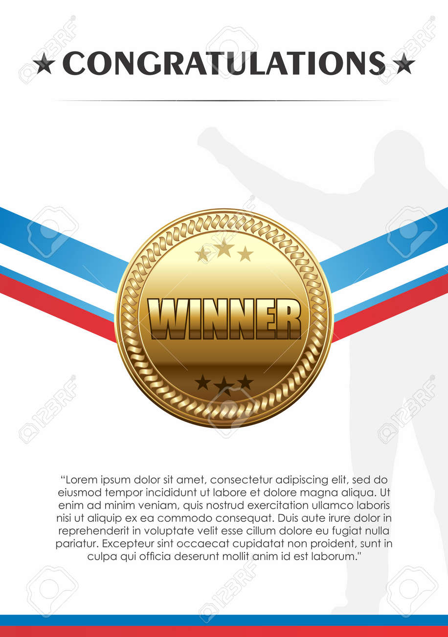 vector champion trophies of gold medal with ribbon congratulation