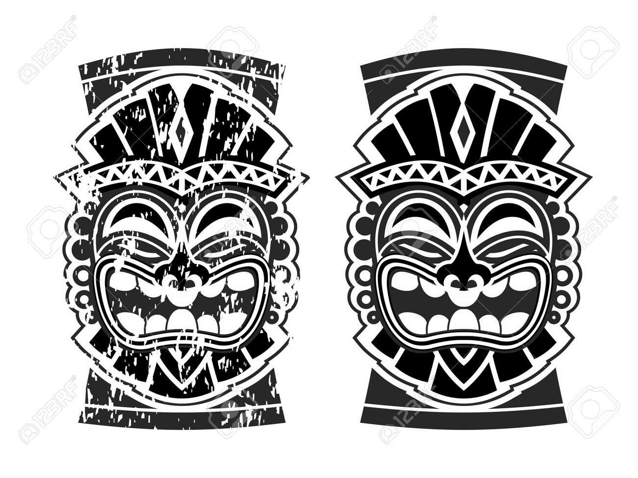 Vector Happy Tribal Hawaiian Ethnic Tiki Mask And Totem Design ...