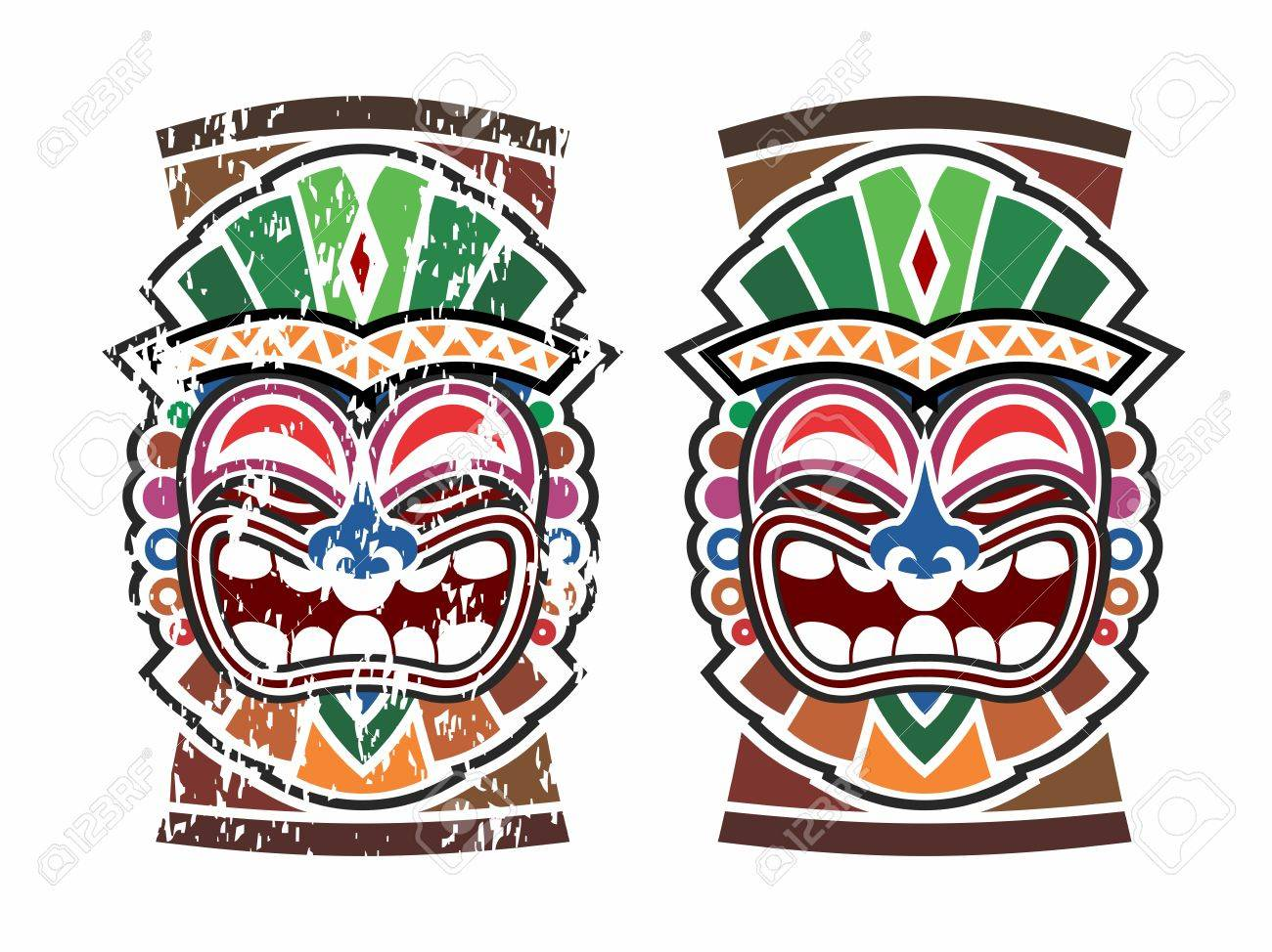 vector happy tribal hawaiian ethnic tiki mask and totem design