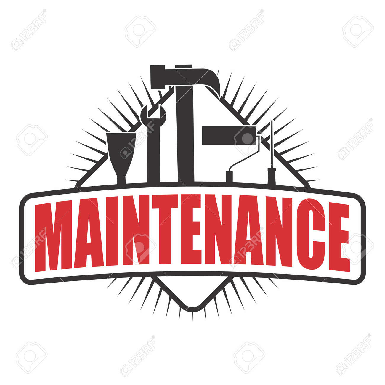 Vector Logo Sticker Of Home Maintenance, With Different Type ...