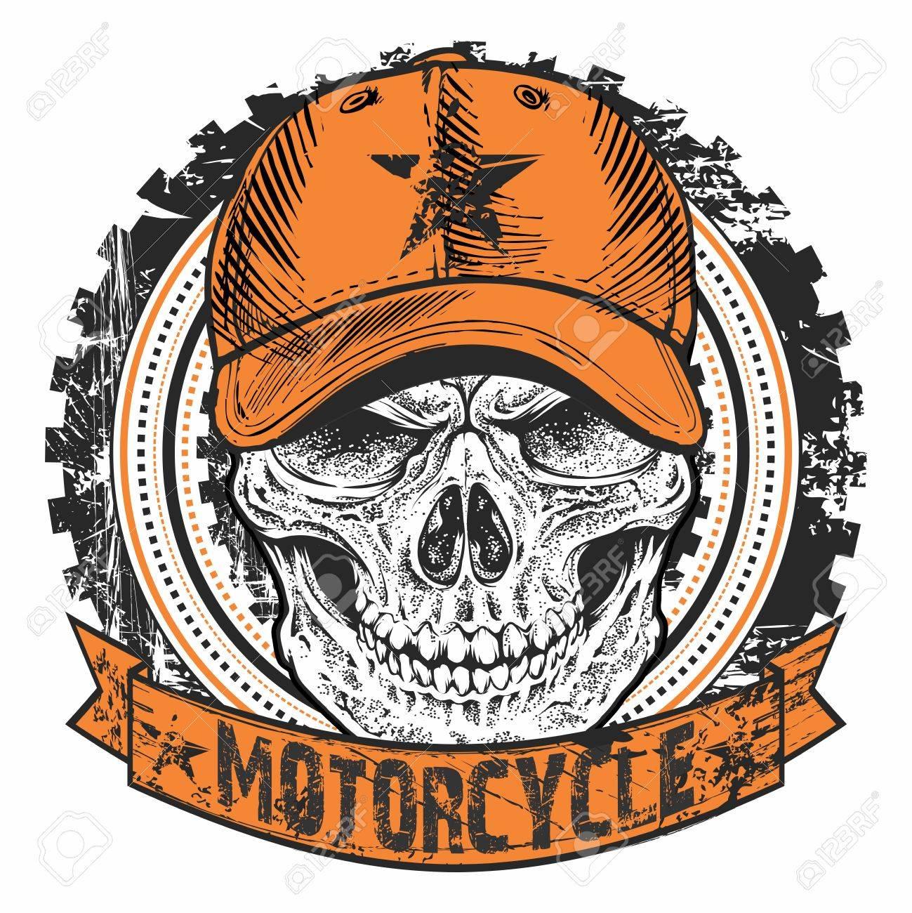 Motocicleta Retro Del Emblema De Los Motoristas D Con El Cráneo Que ...