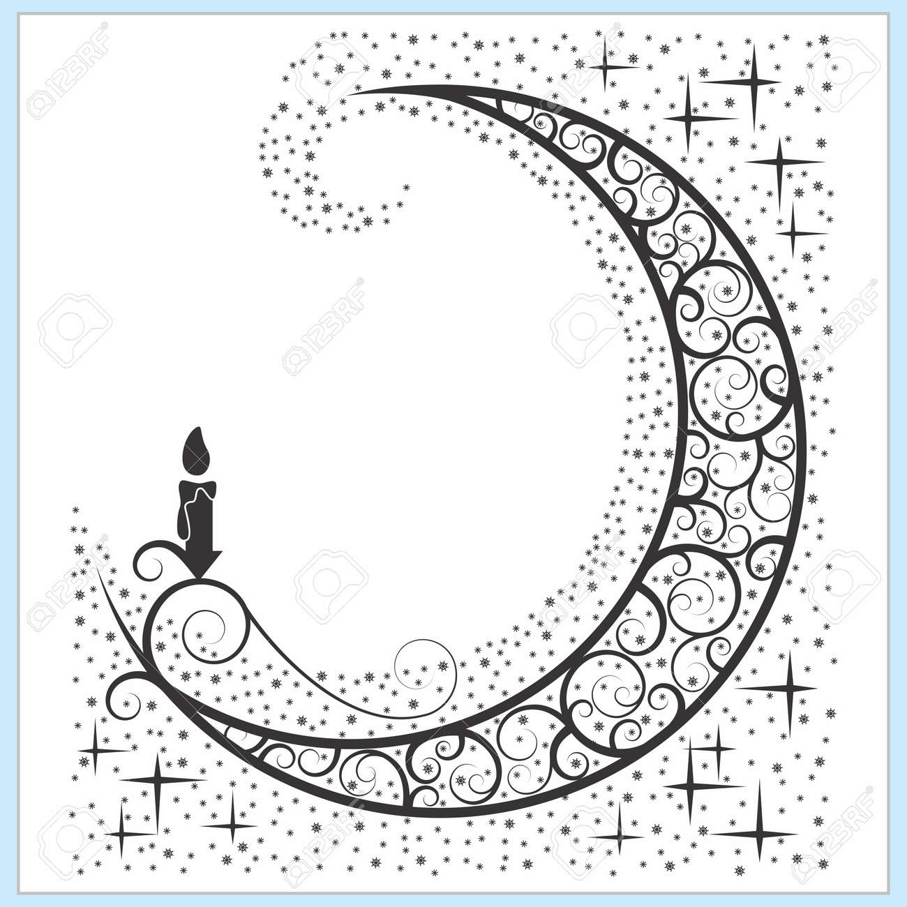 Vector Celtic Moon Symbol With Candle And Stars Royalty Free