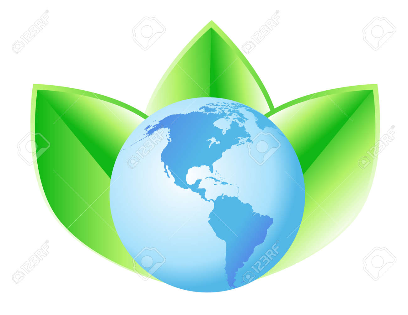 A blue globe with North and South America has 3 green leaves behind it. Stock Vector - 4771596