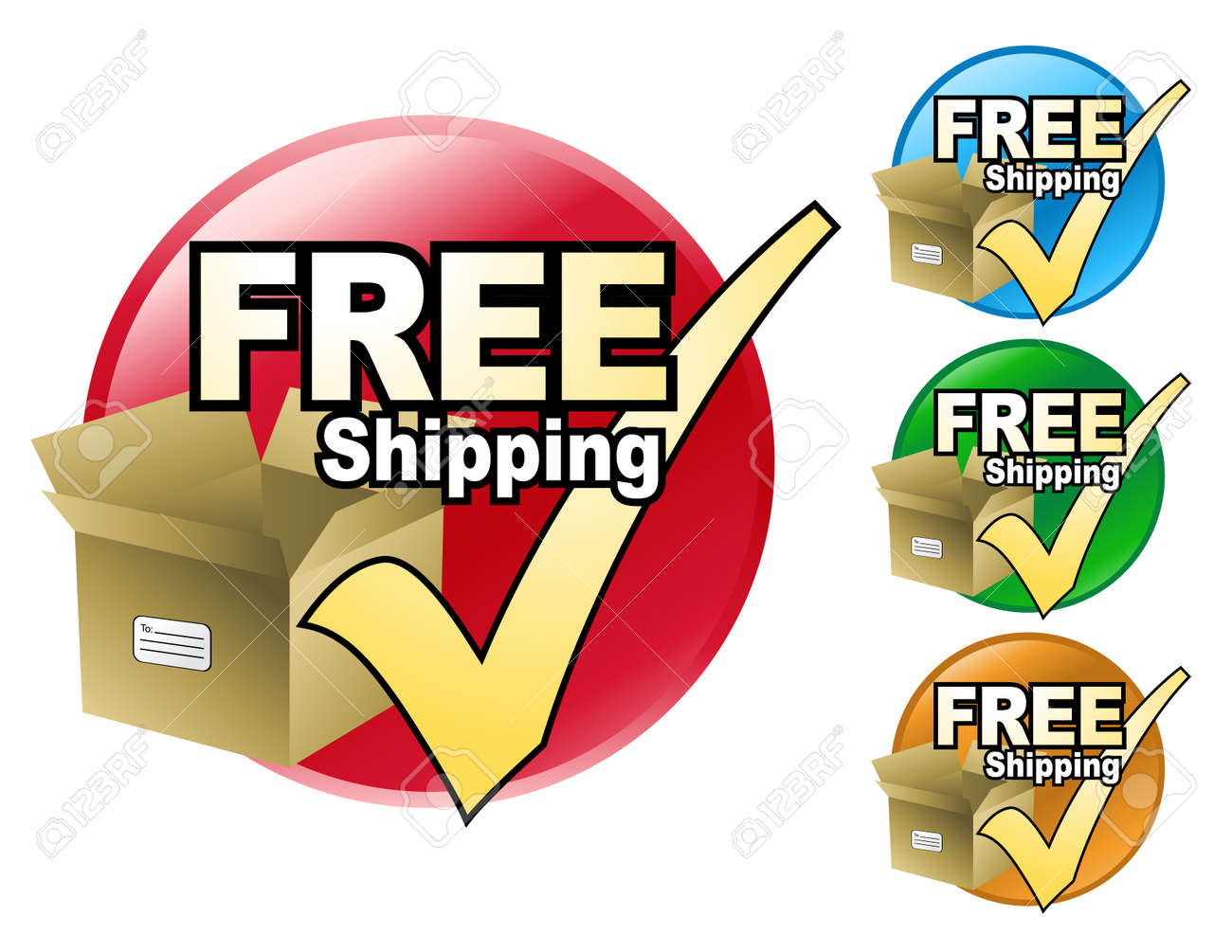 A free shipping icon in four different colors to choose from. The icon has a cardboard box with a check mark by it. Stock Vector - 4771613