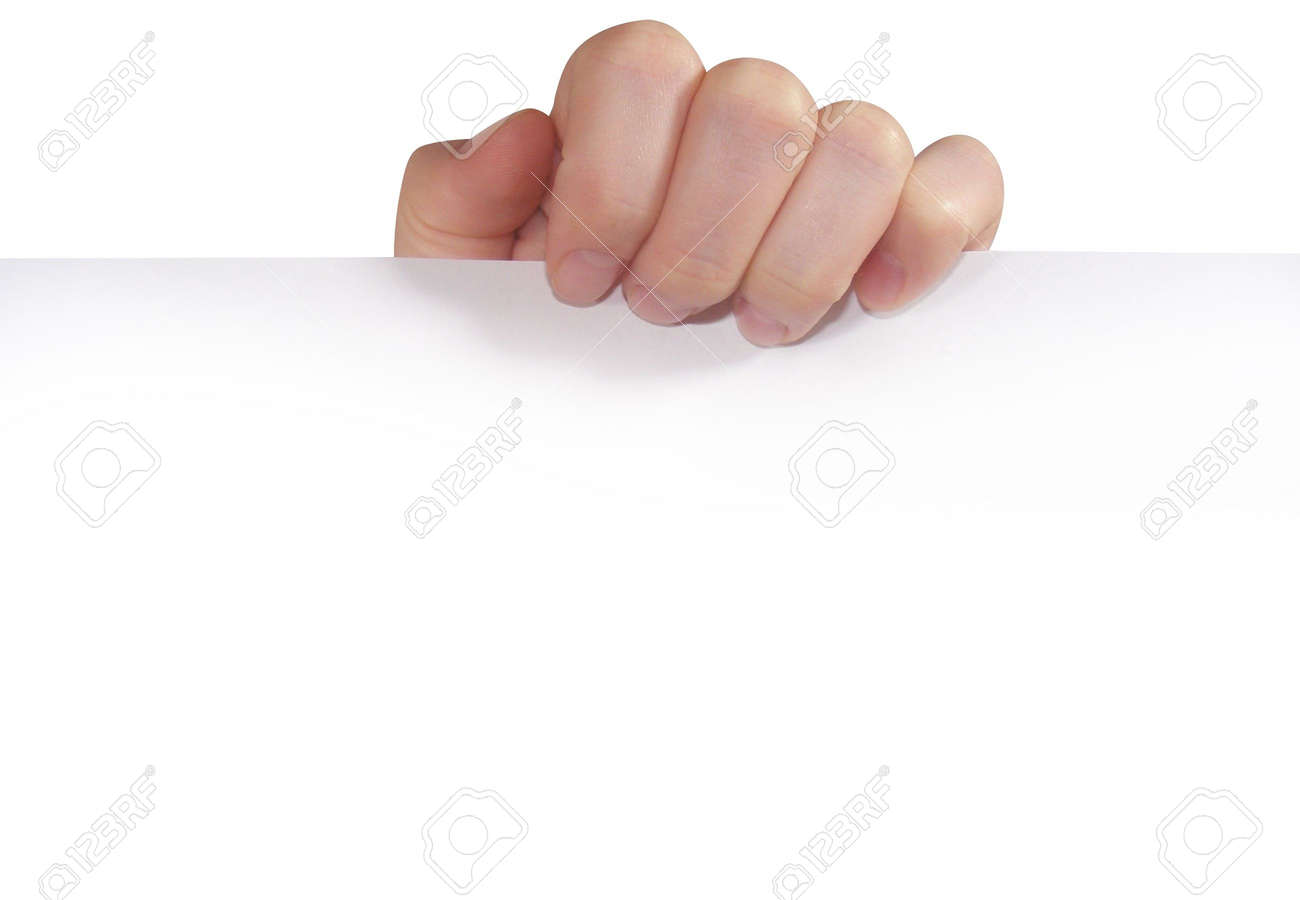 A hand is holding a white piece of paper. Stock Photo - 5220026