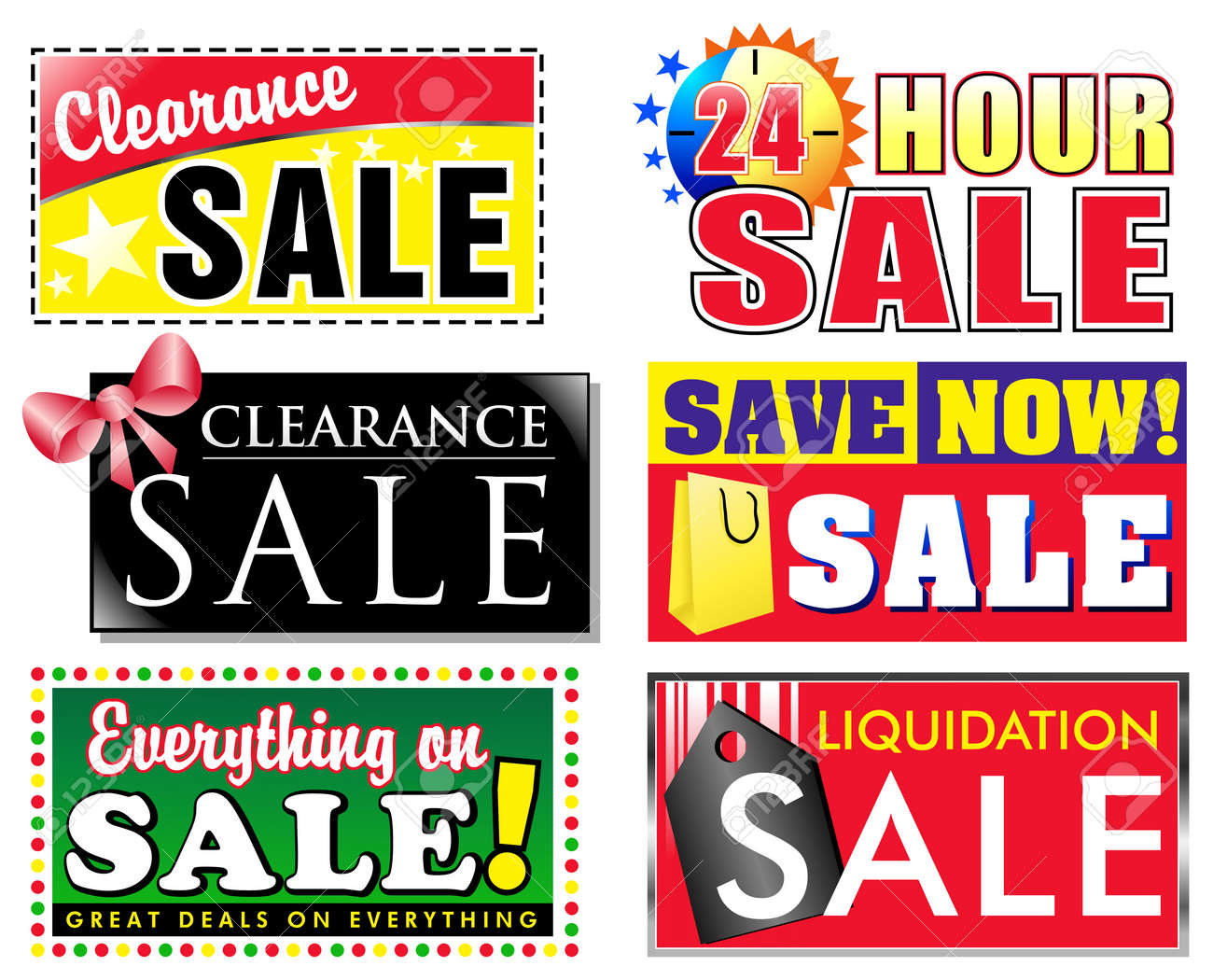 Choose from 6 different sale, clearance discount icons for your store. Advertise special products on sale and make your items stand out to the customer. - 6159935