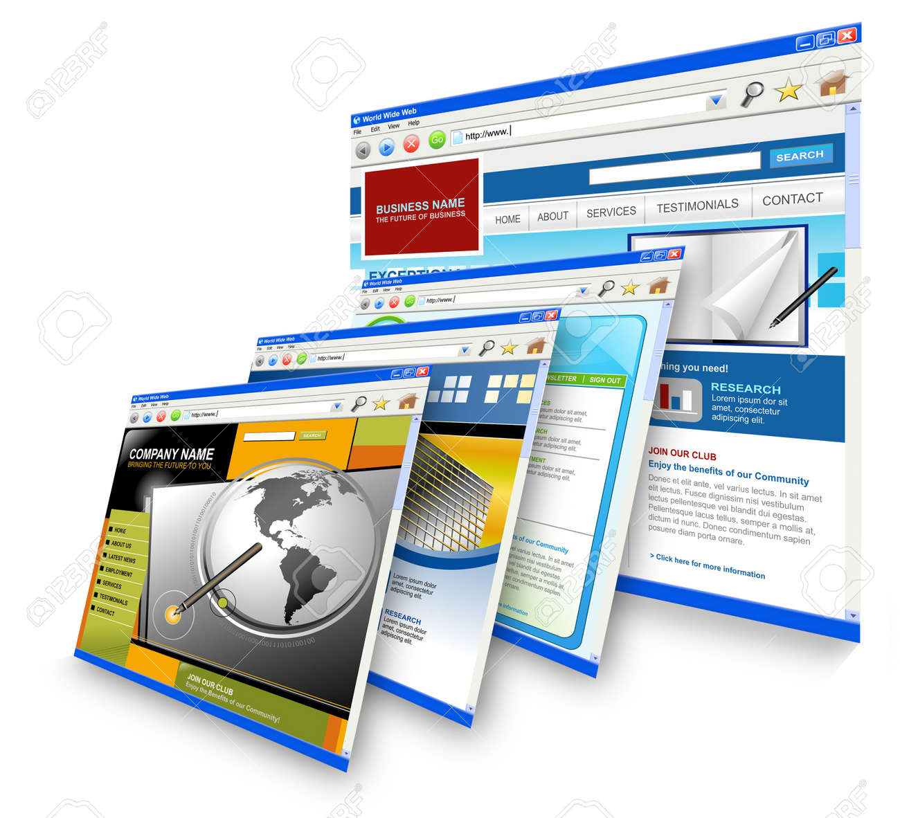 Four technology internet business websites are standing upright. the is one big one and three small ones leaning on it. Has white isolated background. Stock Photo - 6176284
