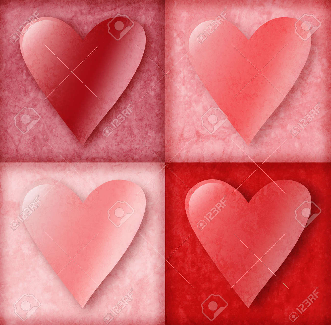 Four pink and red valentine love hearts are in 4 boxes with an old vintage background texture. Use it for love, friendship or anniversary. Stock Photo - 6340518