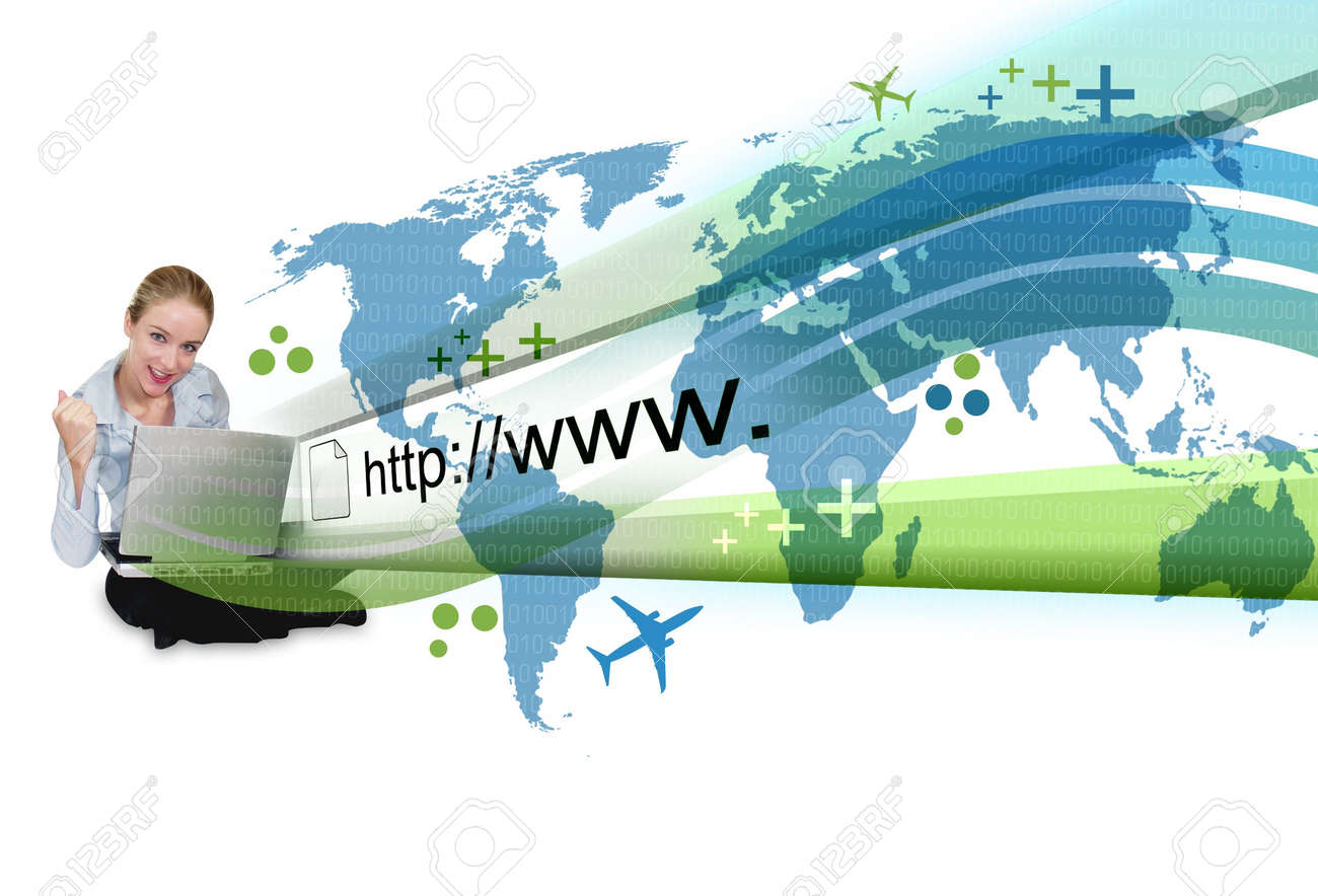 A young business woman is sitting on the ground with a laptop and an abstract internet address is popping out with a map and binary code. Stock Photo - 6769136
