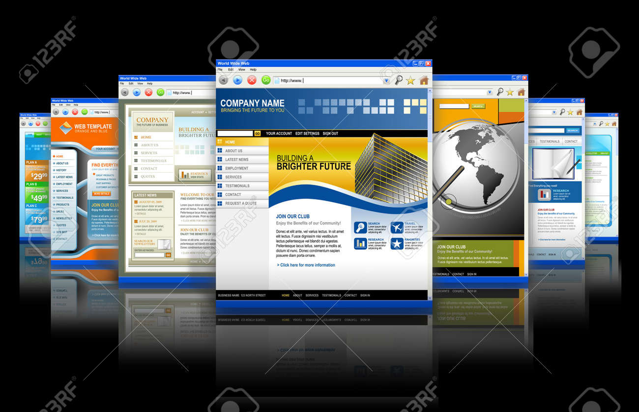 Seven technology internet business websites are standing upright with a reflection. There is one big one and smaller ones fading in back. Has black isolated background. Stock Photo - 6866450