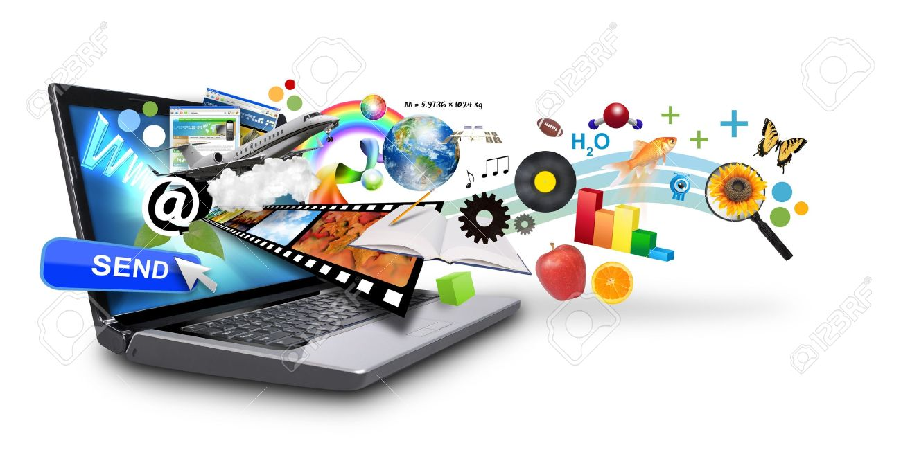 An isolated laptop has many objects projecting out of the screen on a white background Use it for an email download concept or internet research idea - 13882989