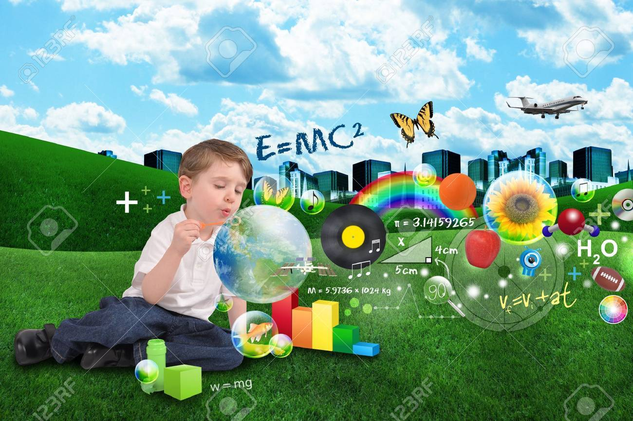 A young boy is blowing bubbles with learning objects inside spread out over a city and clouds Stock Photo - 16933401
