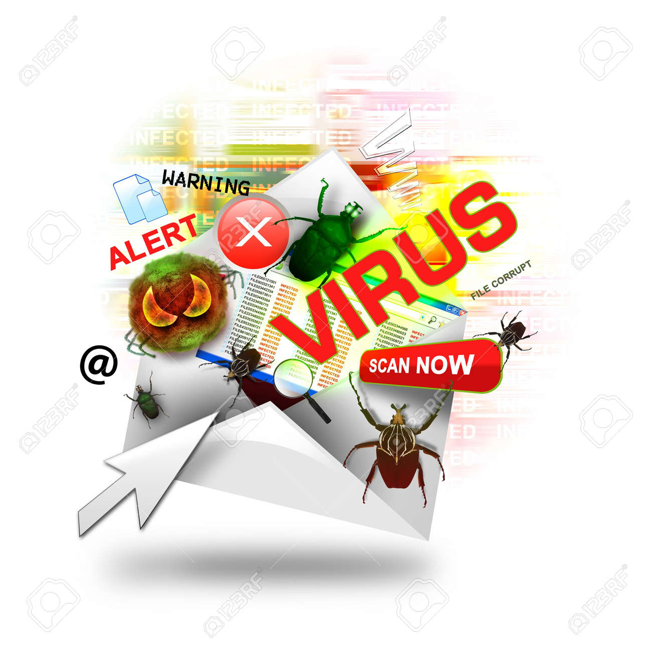 A Internet Email Is Open With Various Computer Virus Icons Around ...