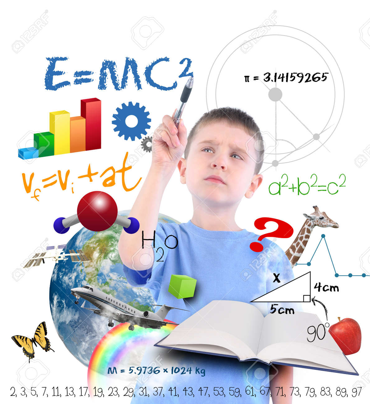 A young boy is writing on a white background with different science, math and physics icons around him  Use it for a school or learning concept Stock Photo - 17352435