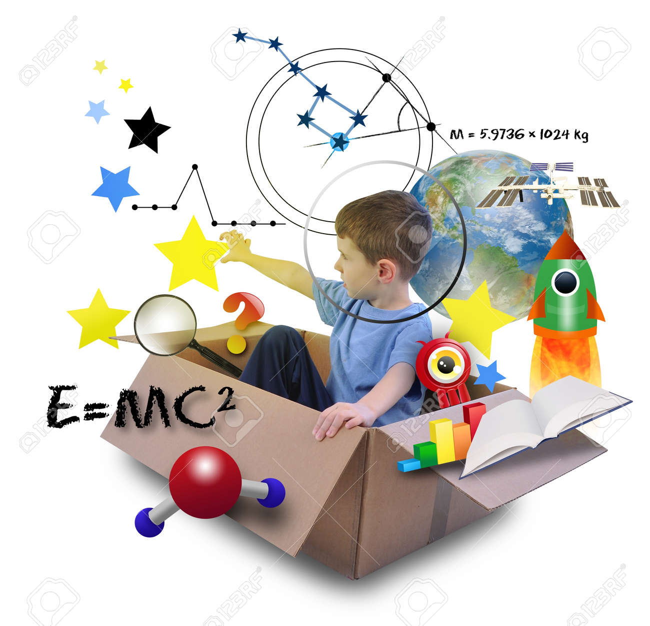 A young boy is using his imagination in a space box Stock Photo - 17892591