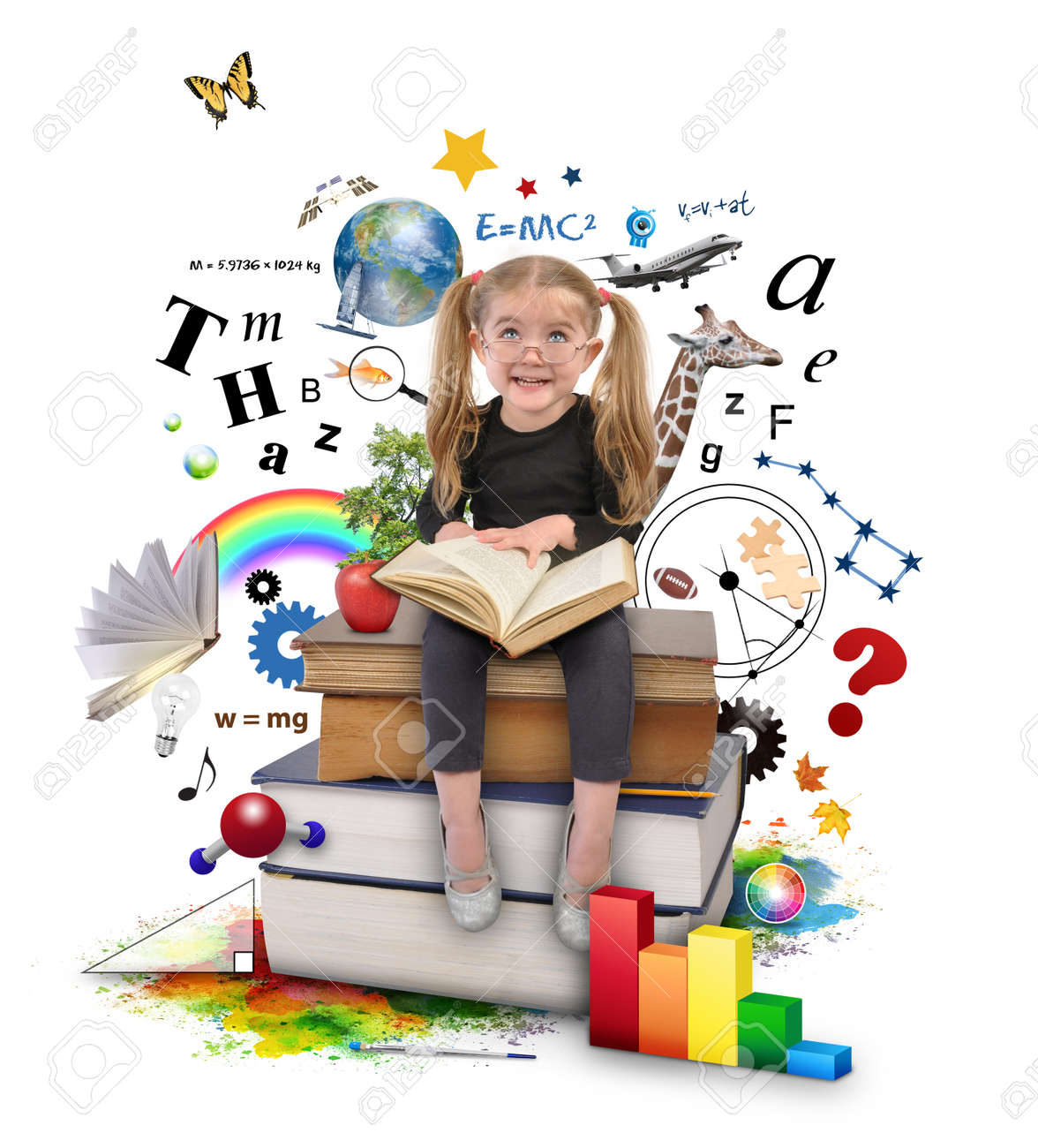 A young girl with glasses is reading a book with school icons such as math formulas, animals and nature objects around her for an education concept on white. - 28116289