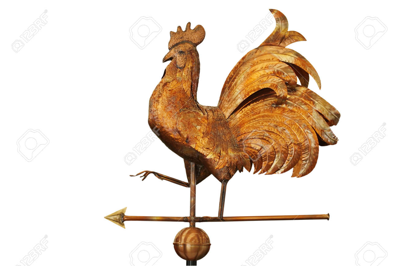 Copper weathercock isolated on white background Stock Photo - 1922363