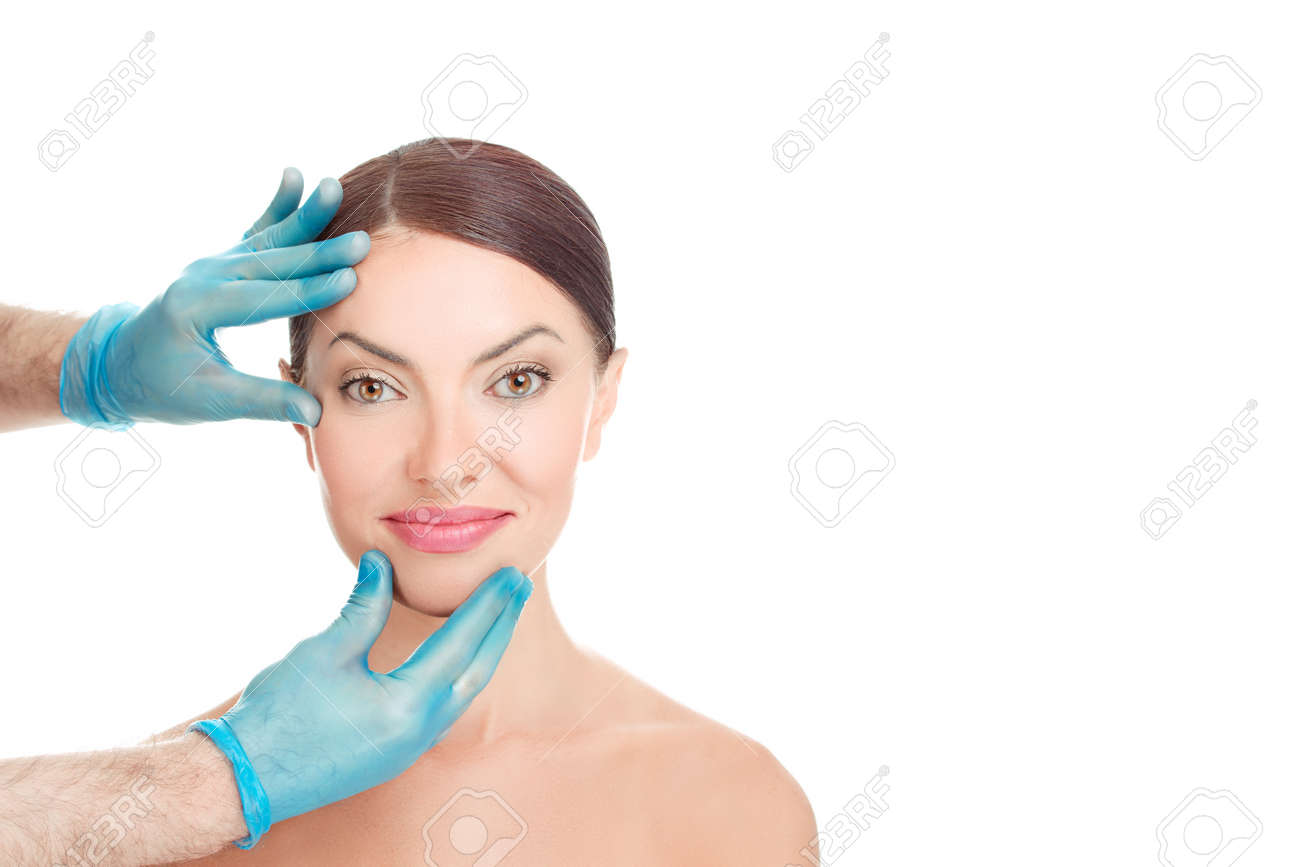 Happy Woman After Aesthetic Surgery Smiles While The Doctor Stock Photo Picture And Royalty Free Image Image 110613418