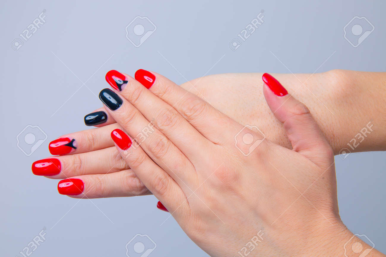 Nail Polish Art Manicure Modern Style Red Black Gradient Nail Stock Photo Picture And Royalty Free Image Image 139545932