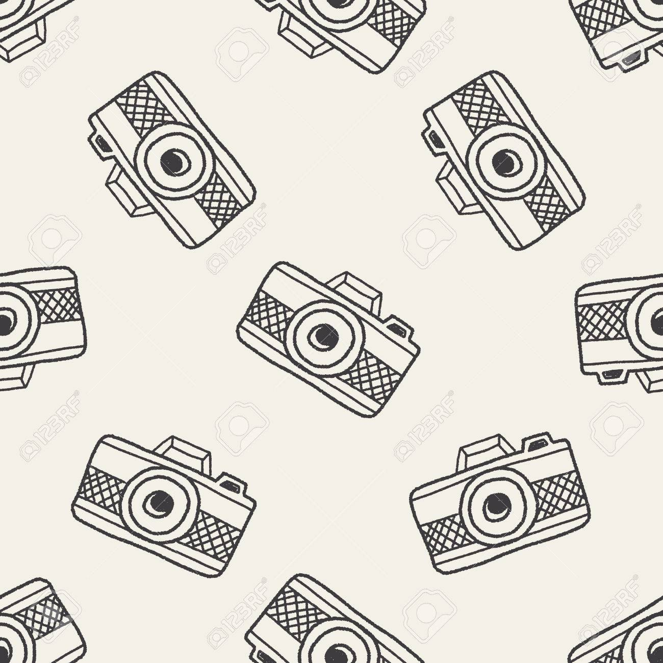 Doodle Camera Seamless Pattern Background Stock Vector