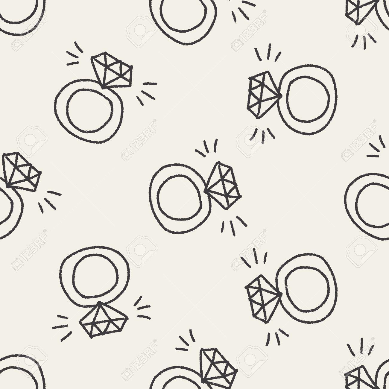 Anillo De Diamantes Doodle De Fondo Sin Fisuras Patrón Ilustraciones ...