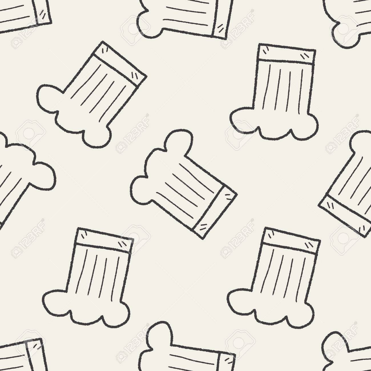 ab2bb7349cd Chef Hat Doodle Seamless Pattern Background Royalty Free Cliparts ...