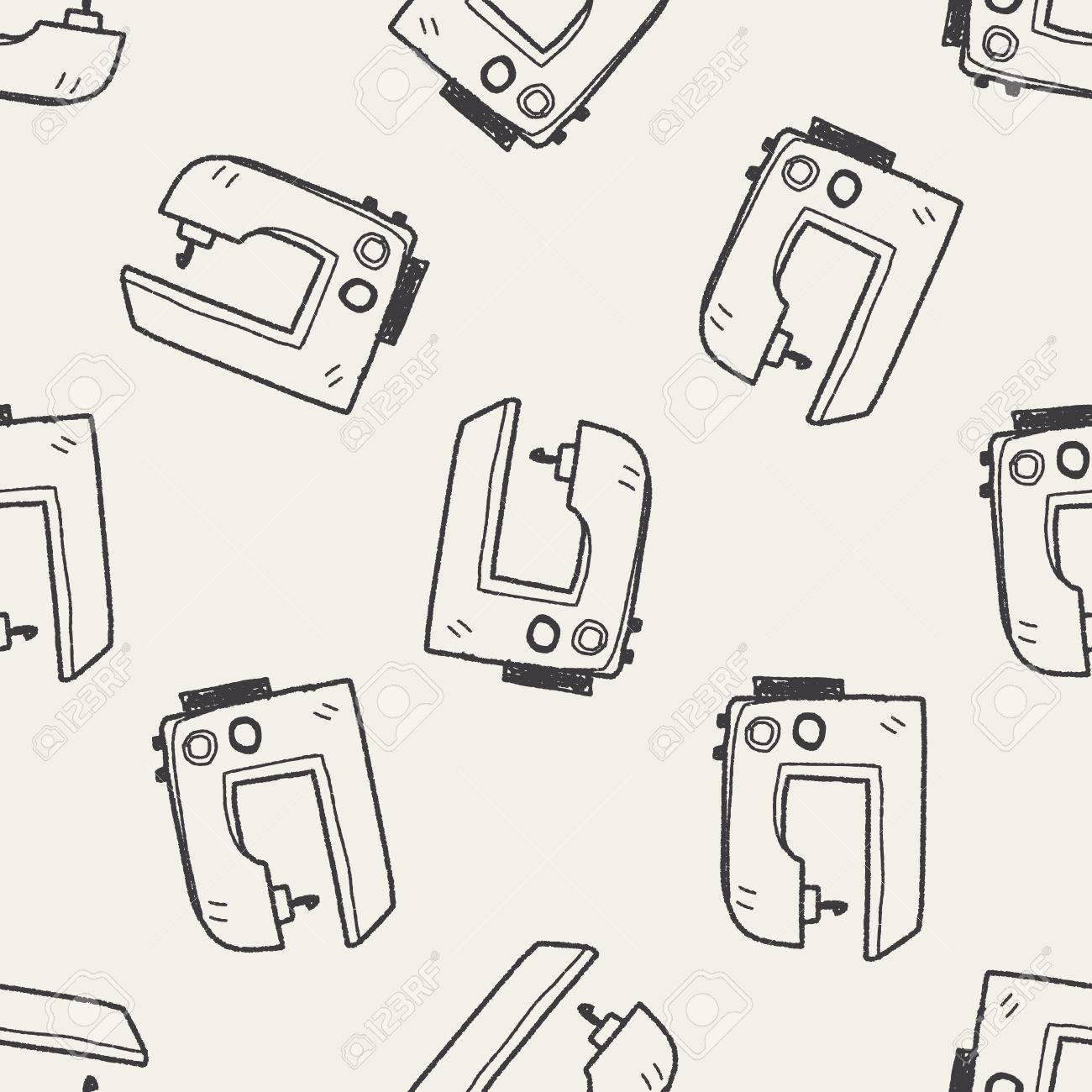 Máquina de coser doodle de fondo sin fisuras patrón