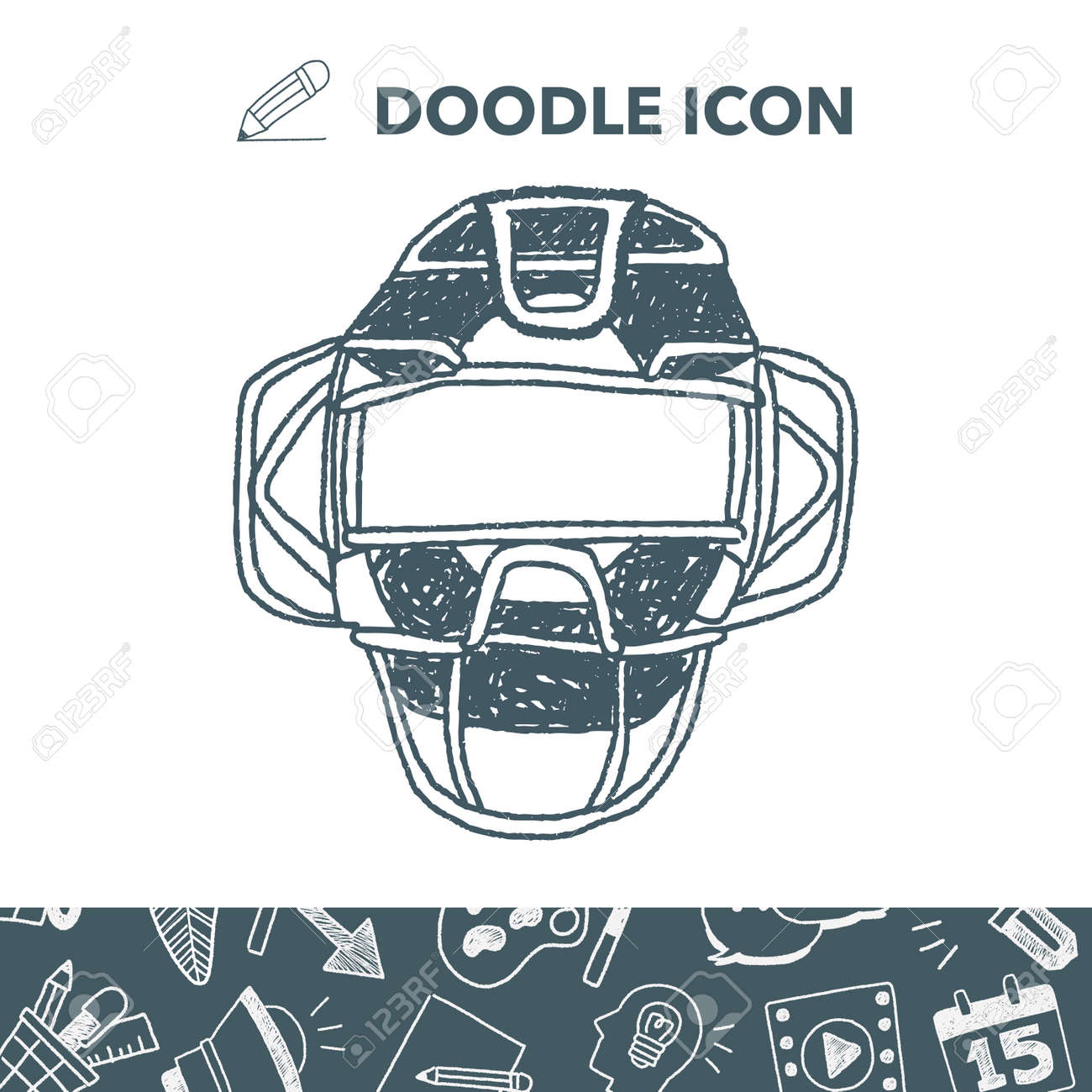 Baseball Catcher Doodle Royalty Free Cliparts Vectors And Stock