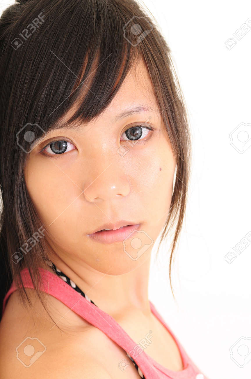 Close-up portrait Asia young woman with beautiful black eyes Stock Photo - 13603884