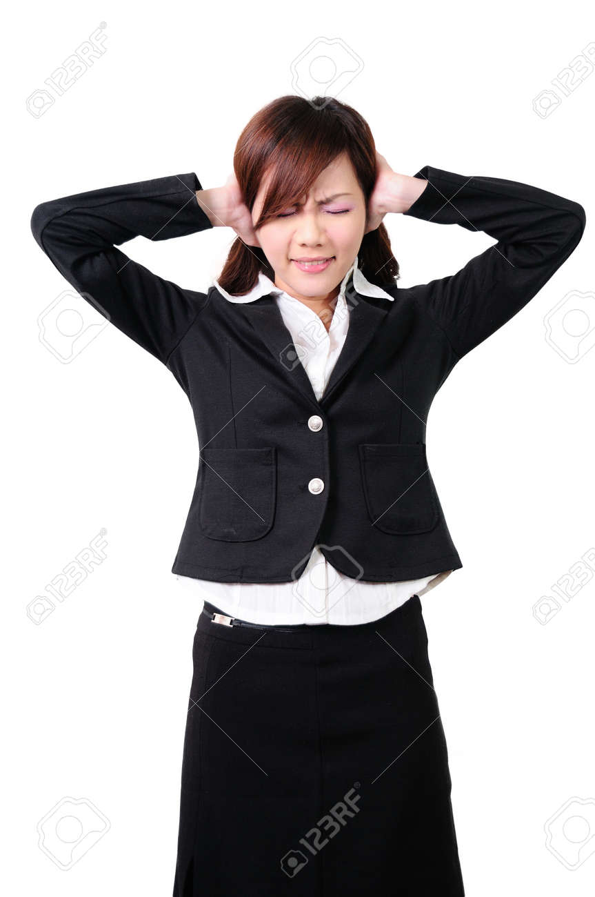 Young woman with his hands covering his ears not to hear noise Stock Photo - 13653816