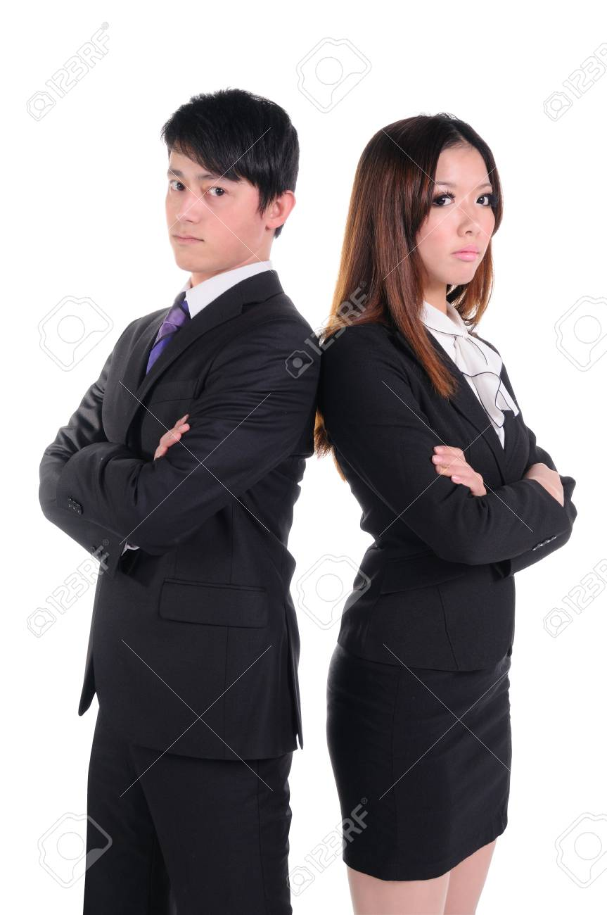 Young businessman standing back to back, isolated on white background Stock Photo - 13684434