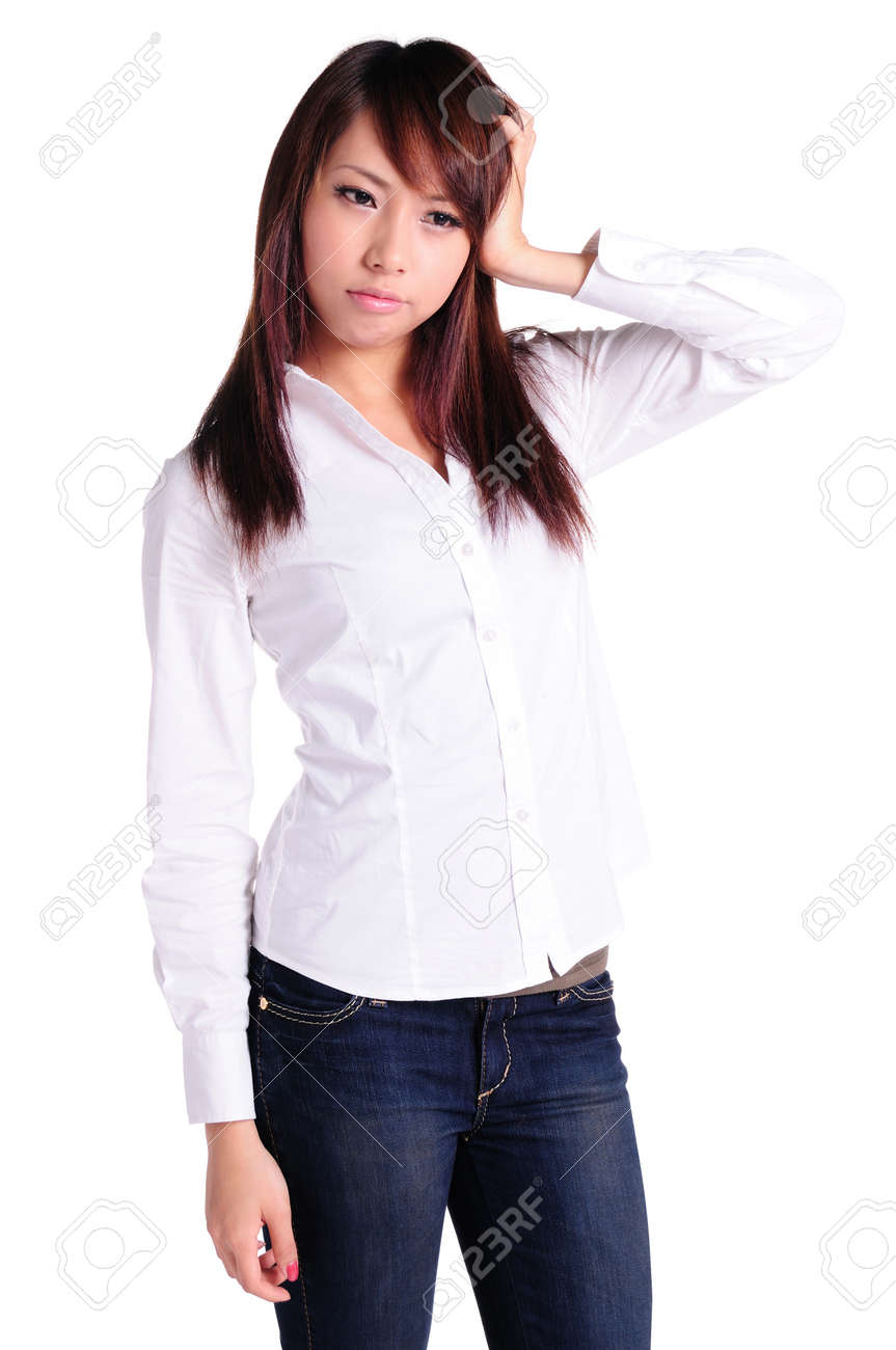 sed businesswoman standing, isolated Stock Photo - 13799442