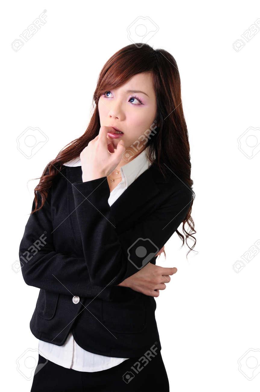 Asian women bow to think carefully businessman, isolated on white background Stock Photo - 13820697