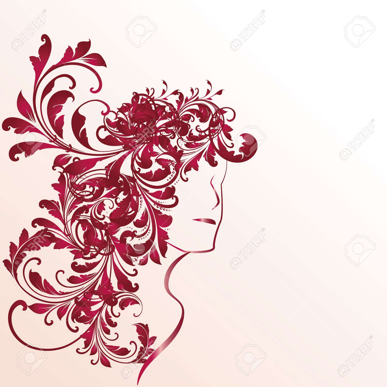 Profile of woman with long curly hair Stock Vector - 14230529