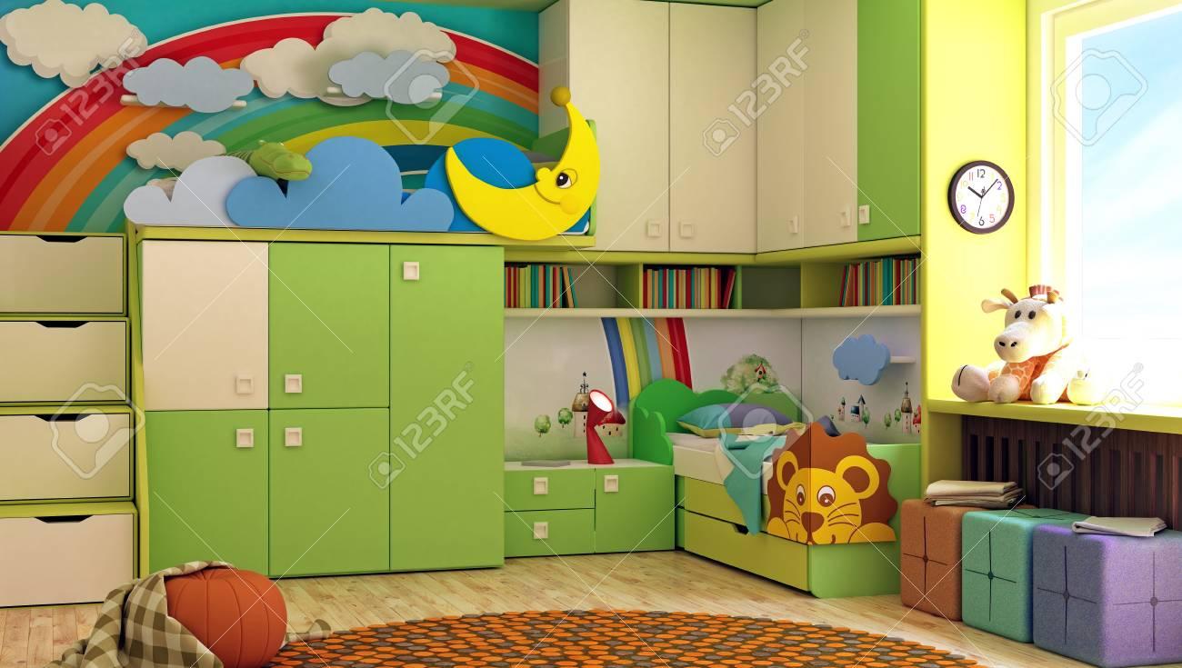 Kinderzimmer Schlafzimmer Grun 3d Render Lizenzfreie Fotos Bilder