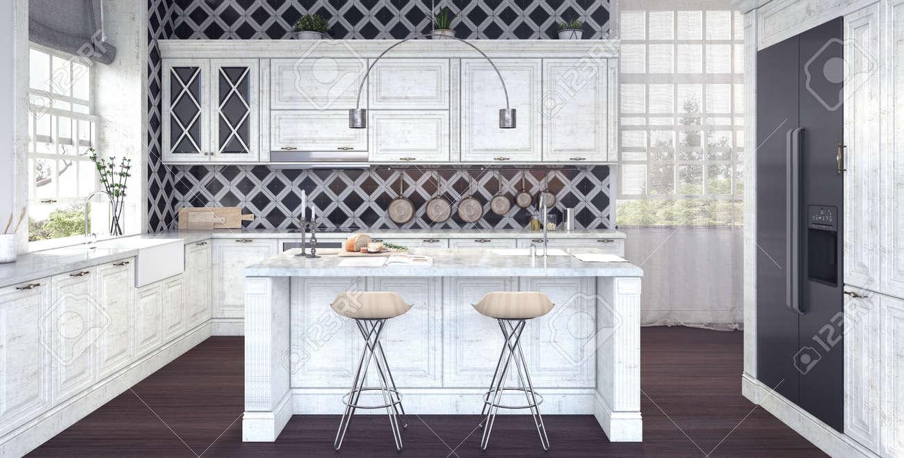 Diseño Clásico De Cocina 3D Fotos, Retratos, Imágenes Y Fotografía ...