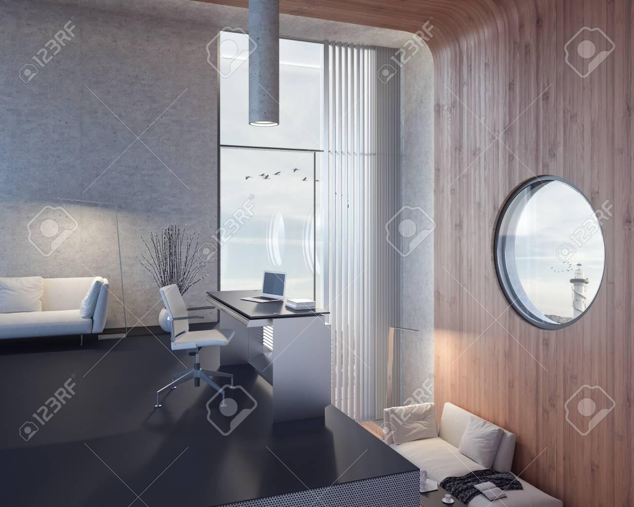 Bureau à domicile moderne espace de travail d render banque d