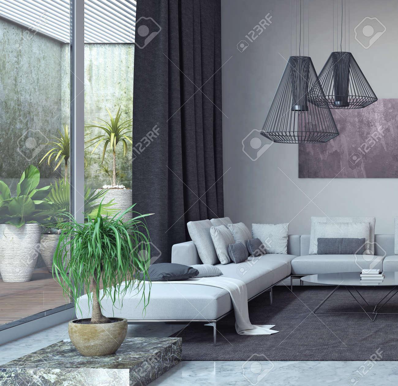 Soggiorno, Arredamento D\'interni 3D Rendering Foto Royalty Free ...