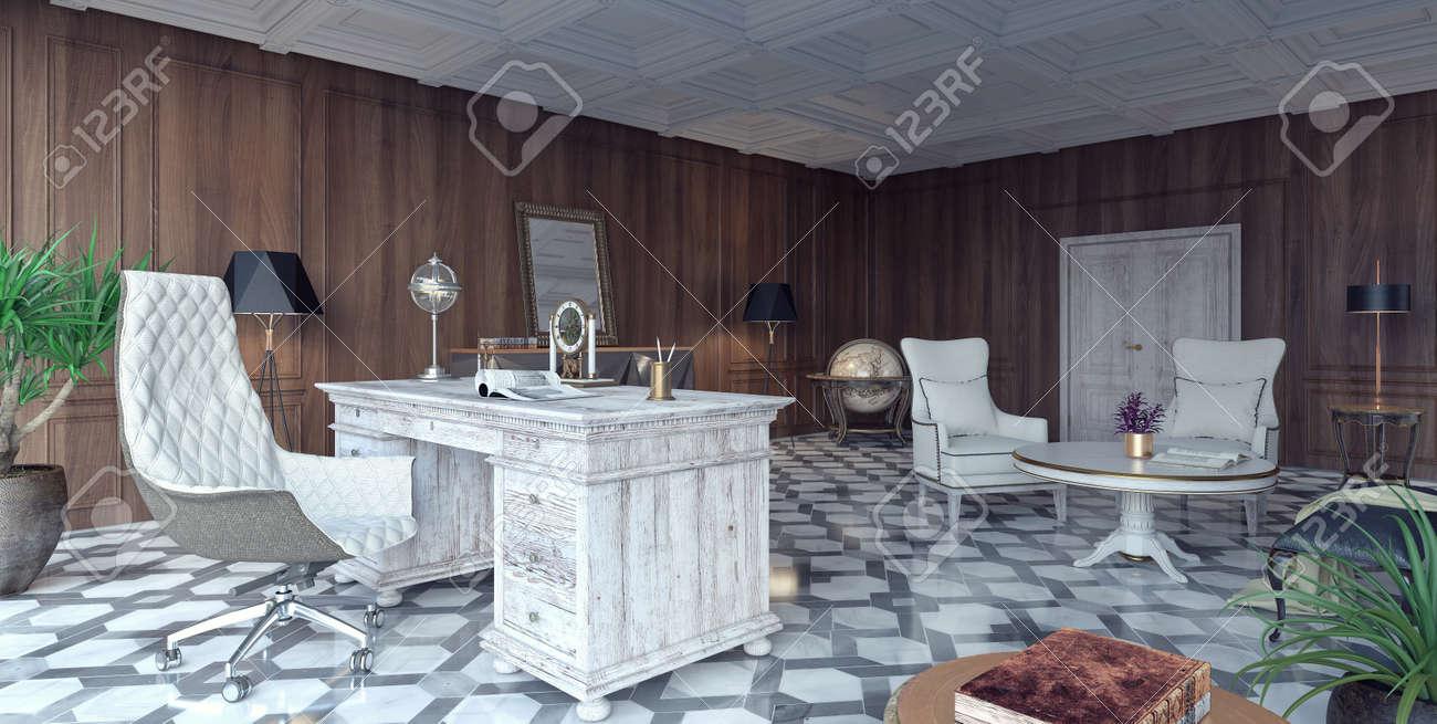 Rendu d classique et moderne de bureau à la maison de conception