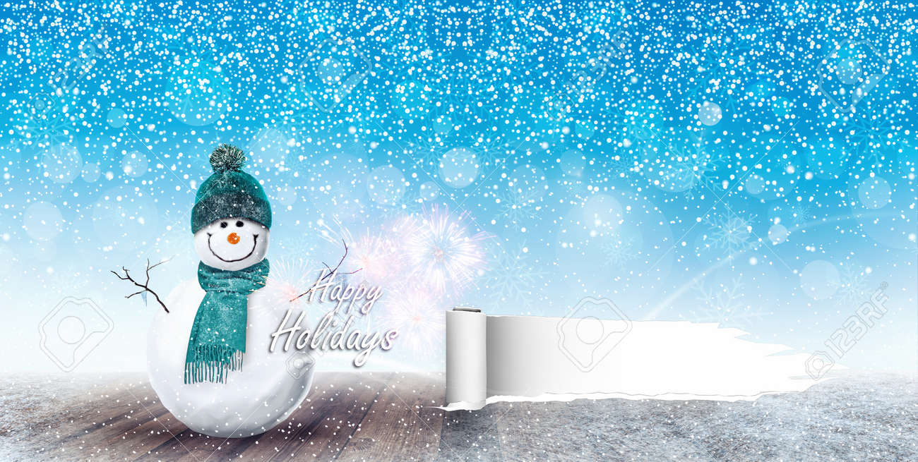 87259464 happy snowman christmas background 3d rendering