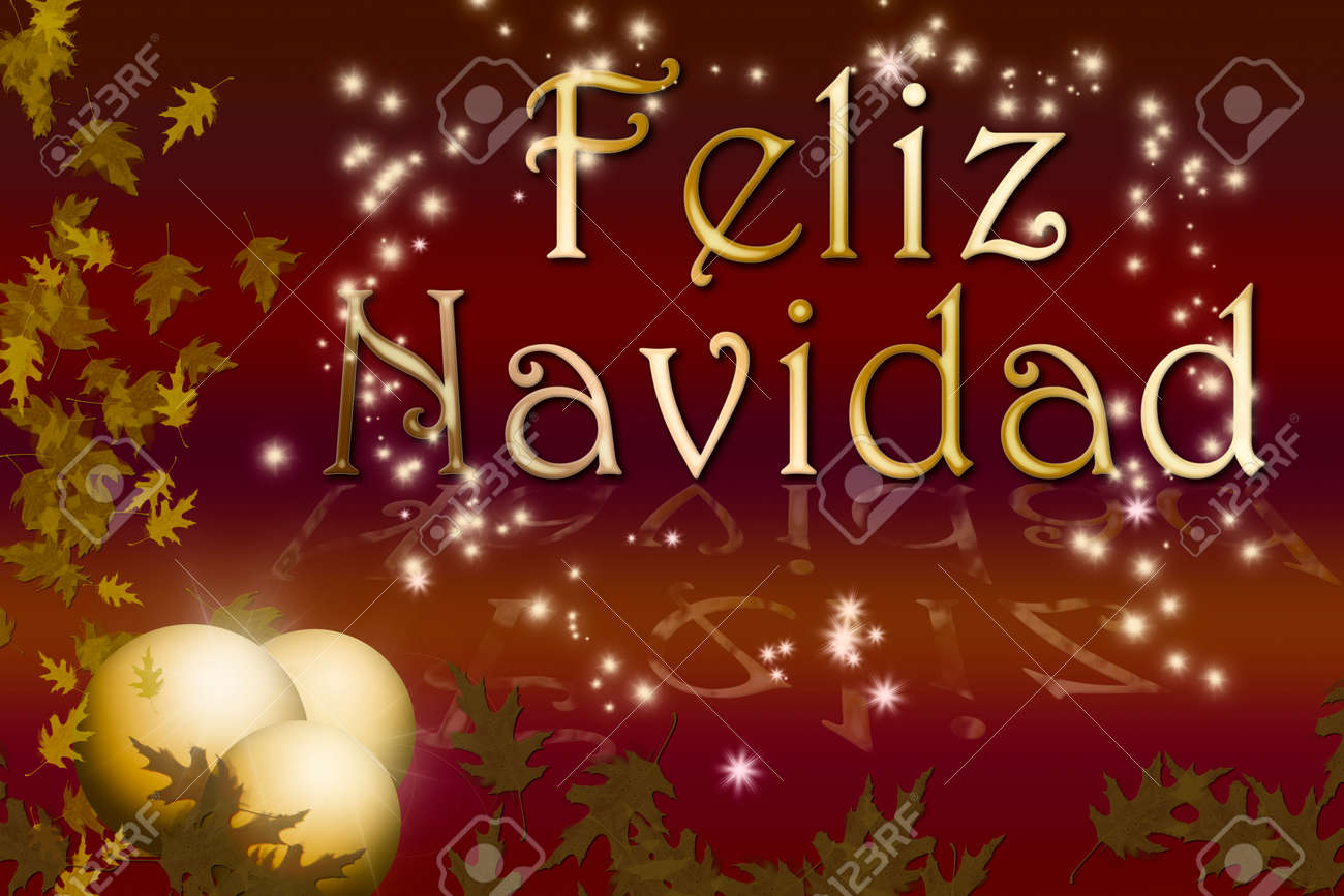 Merry Christmas And Happy New Year In Spanish Stock Photo, Picture ...