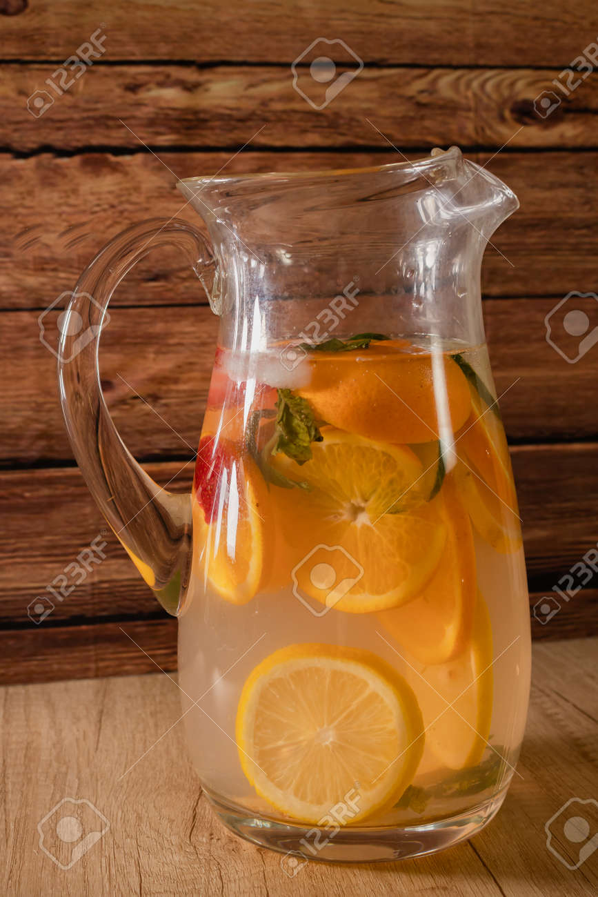 Large Glass Pitcher With Citrus Flavored Water And Homemade Lemonade Stock Photo Picture And Royalty Free Image Image 160318239