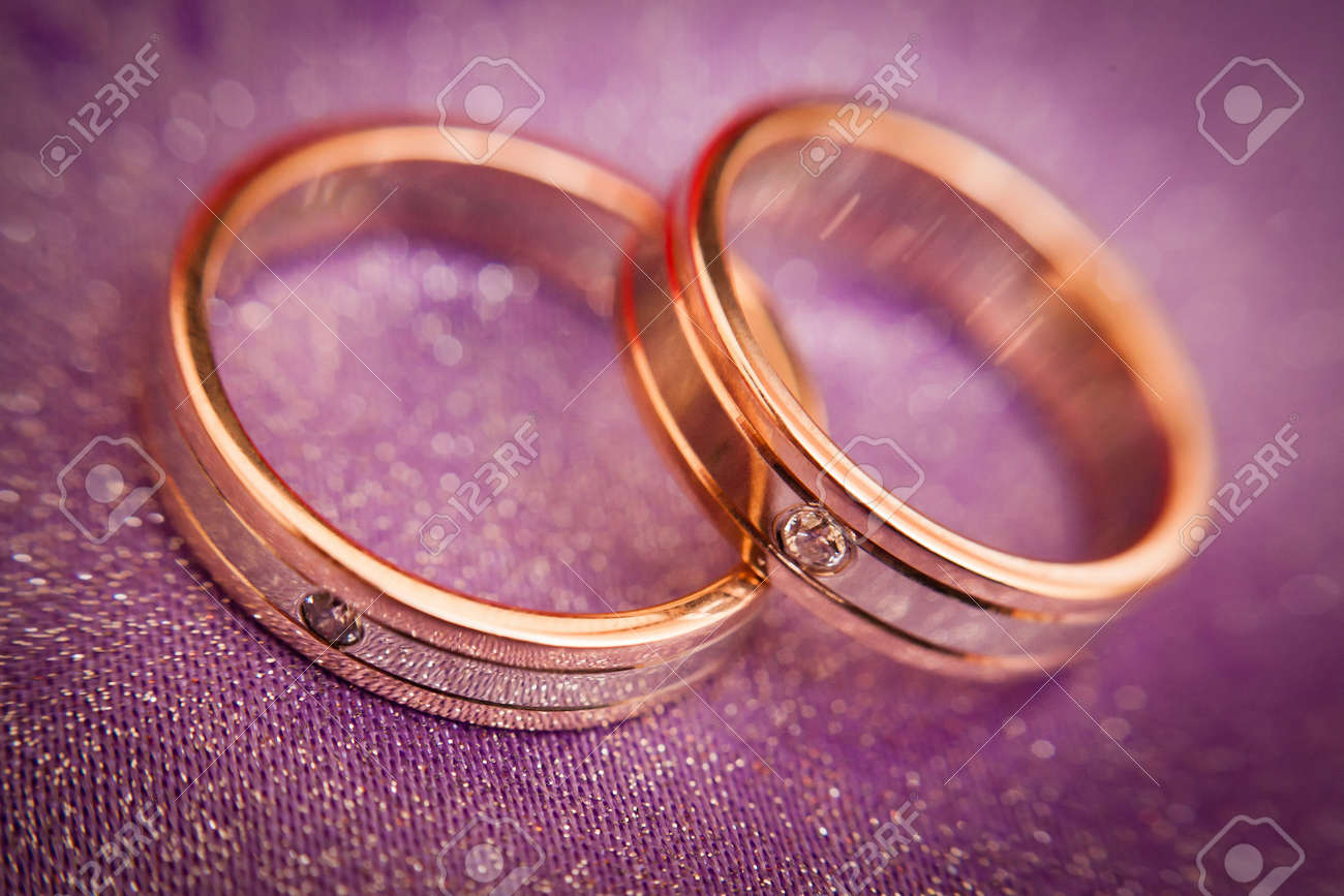 Two Beautiful Golden Wedding Rings With Brilliants Close-up... Stock ...
