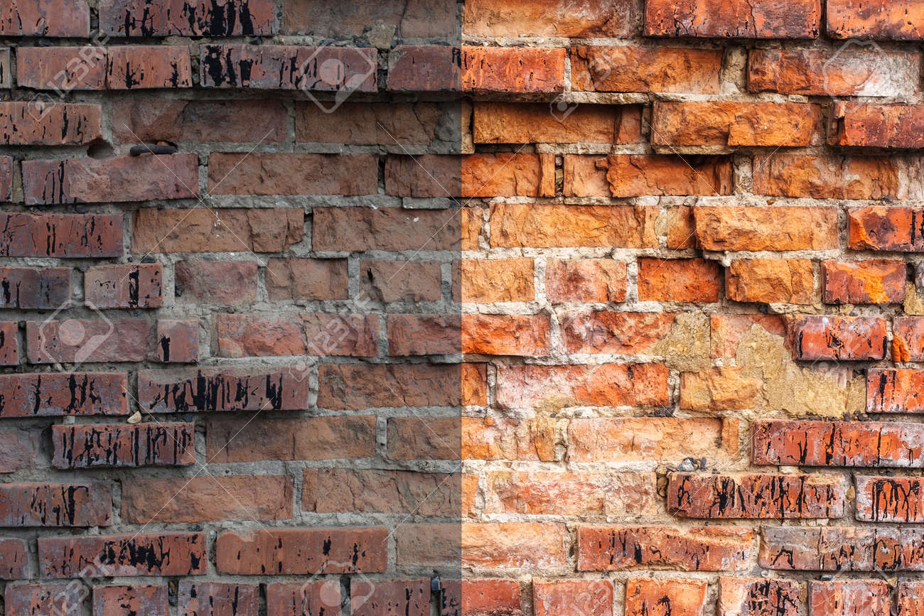 Photo before and after the image editing process weathered stained old orange and red brick