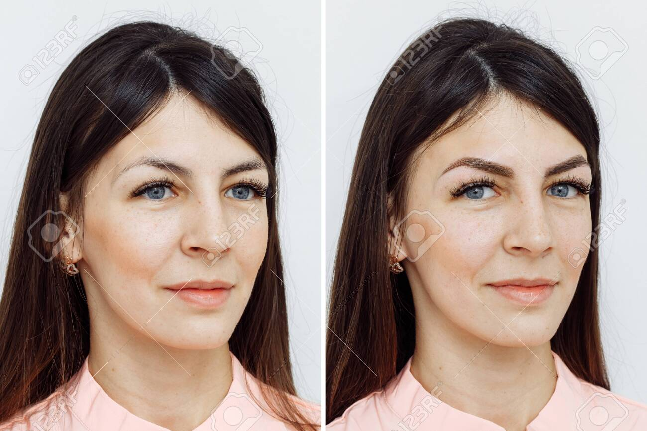 Photo comparison before and after permanent makeup, tattooing of eyebrows for woman in beauty salon - 135655735