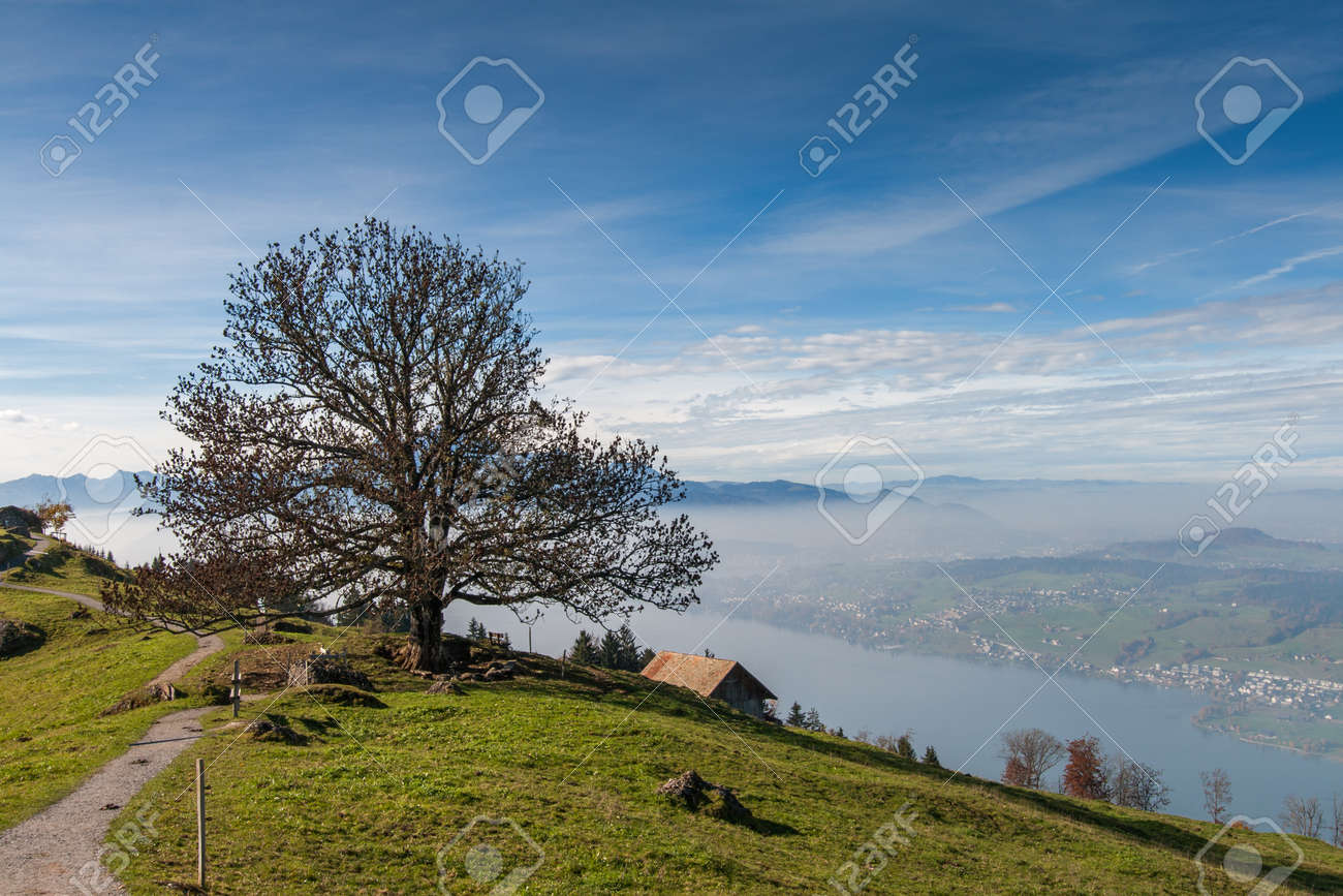 Amazing Autumn Landscape near mount Rigi and lake Luzerne, Alps,