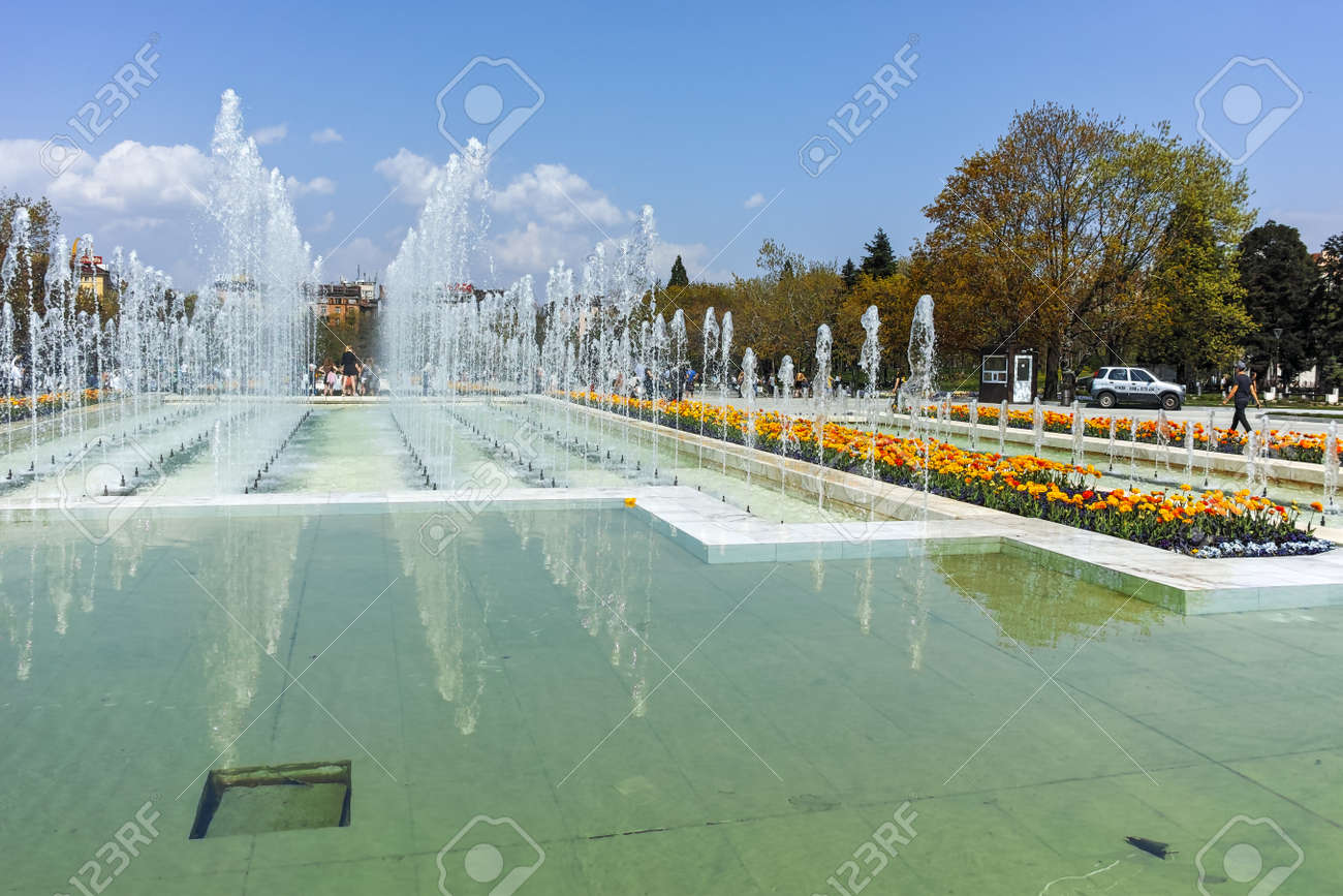 SOFIA, BULGARIA APRIL 14, 2018: Fountain in front of National..