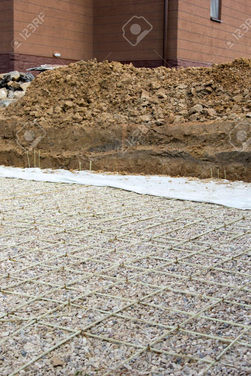 Kies Und Verstarkung Zum Giessen Von Beton Fur Eine Strasse